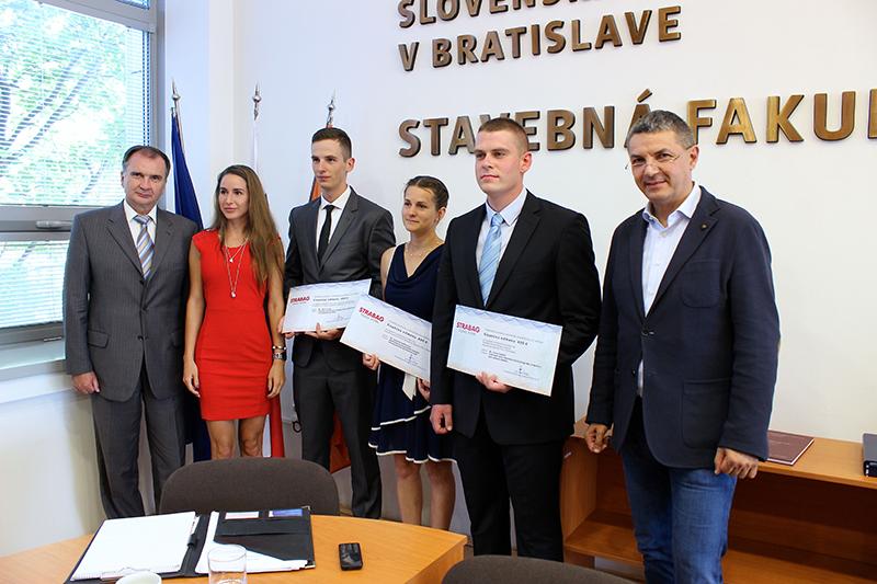Odmeny spoločnosti STRABAG za najlepšie diplomové práce na Stavebnej fakulte STU v Bratislave v šk. roku 2015/16