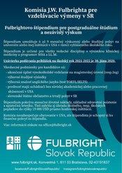 Fulbrightovo štipendium pre postgraduálne štúdium 2021/2022